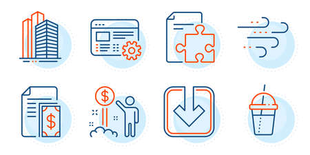 Load document, Skyscraper buildings and Income money signs. Strategy, Payment and Windy weather line icons set. Coffee cocktail, Web settings symbols. Puzzle, Cash money. Business set. Vector Illustration