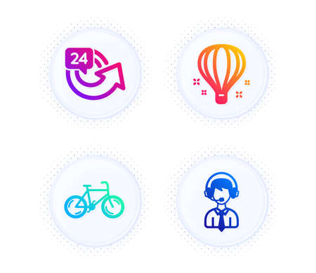 Air balloon, 24 hours and Bicycle icons simple set. Button with halftone dots. Shipping support sign. Sky travelling, Repeat, Bike. Delivery manager. Transportation set. Vector