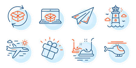Bumper cars, Return parcel and Paper plane signs. Lighthouse, Online delivery and Gift line icons set. Helicopter, Airplane travel symbols. Beacon tower, Parcel tracking website. Vector