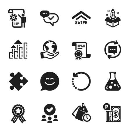 Set of Technology icons, such as Chemistry lab, Smile chat. Certificate, approved group, save planet. Swipe up, Settings blueprint, Strategy. Parking payment, Approved, Recovery data. Vector