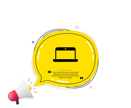 Laptop computer icon. Quote speech bubble. Notebook sign. Portable personal computer symbol. Quotation marks. Classic laptop icon. Vector