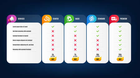 Loyalty tags, Free delivery and Money currency icons simple set. Price list, pricing table. Cash sign. Bonus reward, Shopping truck, Cash change. Atm payment. Finance set. Vector Vecteurs
