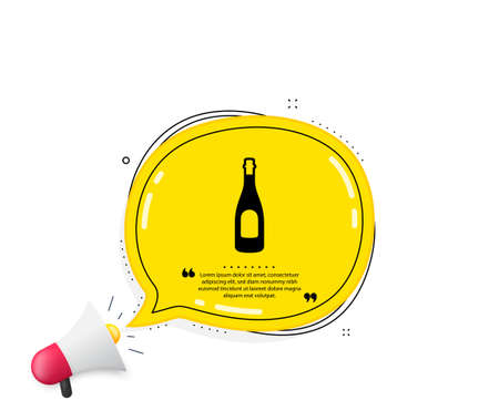 Champagne bottle icon. Quote speech bubble. Anniversary alcohol sign. Celebration event drink. Quotation marks. Classic champagne icon. Vector