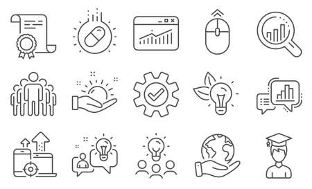 Set of Science icons, such as Sunny weather, Group. Diploma, ideas, save planet. Seo devices, Service, Swipe up. Website statistics, Eco energy, Idea. Seo analysis, Student, Graph chart. Vector