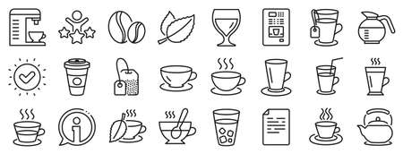 Set of Cappuccino, Juice with ice and Latte coffee cup icons. Coffee and Tea line icons. Teapot, Coffeepot and Hot drink with Steam. Mint leaf tea, Herbal beverage and Vending. Hot latte cup. Vector Vettoriali