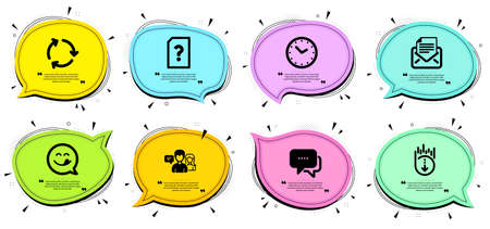 People talking, Unknown file and Mail correspondence signs. Chat bubbles with quotes. Message, Yummy smile and Scroll down line icons set. Recycling, Time symbols. Chat bubble, Emoticon. Vector Vetores
