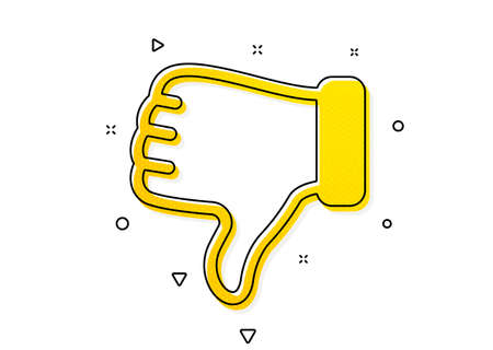 Thumbs down finger sign. Dislike hand icon. Gesture symbol. Yellow circles pattern. Classic dislike hand icon. Geometric elements. Vector Vettoriali