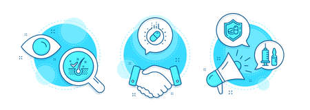 Anti-dandruff flakes, Capsule pill and Medical vaccination line icons set. Handshake deal, research and promotion complex icons. Medical tablet sign. Vector