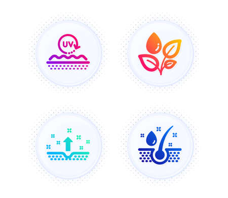 Clean skin, Uv protection and Plants watering icons simple set. Button with halftone dots. Serum oil sign. Cosmetics, Skin cream, Water drop. Healthy hairs. Healthcare set. Vector Ilustracja
