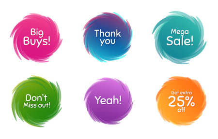 Swirl motion circles. Mega sale, 25% discount and miss out. Thank you phrase. Sale shopping text. Twisting bubbles with phrases. Spiral texting boxes. Big buys slogan. Vector