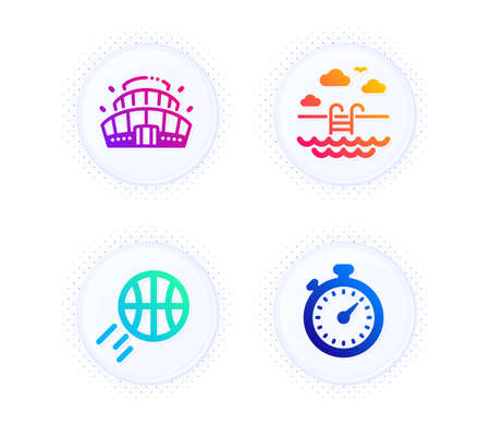 Basketball, Swimming pool and Arena stadium icons simple set. Button with halftone dots. Timer sign. Sport ball, Basin, Competition building. Stopwatch gadget. Sports set. Vector