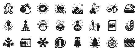 Santa hat, Gingerbread man and Gift box icons. Christmas, New year icons. Fireworks, Snowflake and christmas holly. Snowman, santa socks and Pine tree. New year ball, holiday calendar. Vector