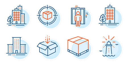Get box, Delivery box and University campus signs. Buildings, Skyscraper buildings and Lighthouse line icons set. Elevator, Parcel tracking symbols. City architecture, Town architecture. Vector Illustration