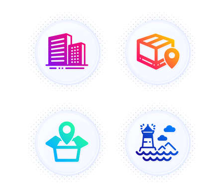 Parcel tracking, Package location and Buildings icons simple set. Button with halftone dots. Lighthouse sign. Package location pin, Delivery tracking, City architecture. Vector