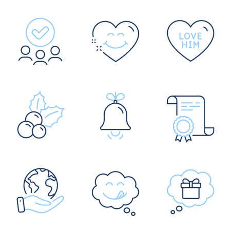 Bell, Gift dream and Smile face line icons set. Diploma certificate, save planet, group of people. Yummy smile, Christmas holly and Love him signs. Alarm signal, Receive a gift, Love heart. Vector