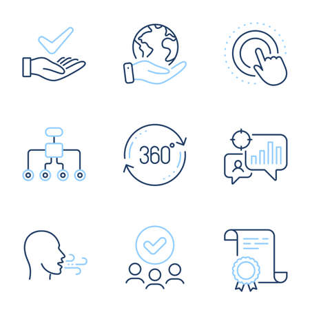 Full rotation, Seo statistics and Click hand line icons set. Diploma certificate, save planet, group of people. Dermatologically tested, Restructuring and Breathing exercise signs. Vector
