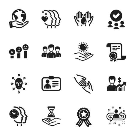 Set of People icons, such as Customer satisfaction, Helping hand. Certificate, approved group, save planet. Time management, Recruitment, Face biometrics. Vector