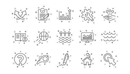 Signature, Analytics and Question mark. Waves, Whistle and Global warming line icons. Linear icon set. Geometric elements. Quality signs set. Vector