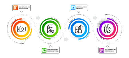 Puzzle, Chemistry flask and Report line icons set. Infographic timeline. Recovery computer sign. Engineering strategy, Laboratory, Presentation document. Backup info. Technology set. Vector 向量圖像