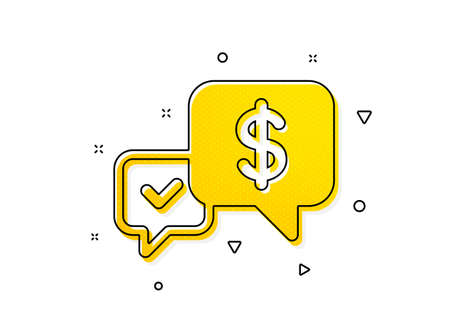 Dollar exchange sign. Payment receive icon. Finance symbol. Yellow circles pattern. Classic payment received icon. Geometric elements. Vector