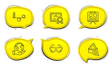Eyeglasses sign. Diploma certificate, save planet chat bubbles. Moisturizing cream, Balance and Vision board line icons set. Face lotion, Concentration, Eye check. Optometry. Healthcare set. Vector