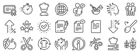 Approved application, Scissors cutting ribbon, Artificial intelligence icons. Chef hat, Customer survey, Fast delivery line icons. Percent decrease, interest rate, contract. Vector