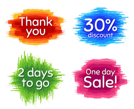 One day sale, 30% discount and 2 days to go. Dirty brush stroke. Thank you phrase. Sale shopping text. Paint, ink watercolor brush stroke. Grunge painbrush dash. Vector Illusztráció