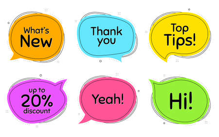 Top tips, 20% discount and whats new. Thought chat bubbles. Thank you, hi and yeah phrases. Sale shopping text. Chat messages with phrases. Colorful texting thought bubbles. Vector