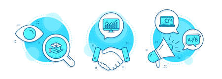 Seo laptop, Ab testing and Statistics line icons set. Handshake deal, research and promotion complex icons. Hold box sign. Search engine, Test chat, Financial report. Delivery parcel. Vector