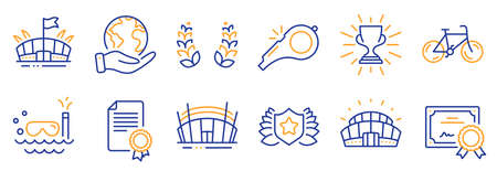 Set of Sports icons, such as Certificate, Laureate. Certificate, save planet. Arena stadium, Bicycle, Laurel wreath. Scuba diving, Whistle, Trophy. Arena, Sports stadium line icons. Vector Ilustracja