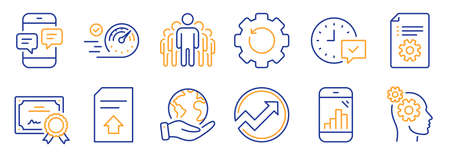 Set of Technology icons, such as Recovery gear, Upload file. Certificate, save planet. Speedometer, Graph phone, Select alarm. Group, Phone messages, Thoughts. Vector