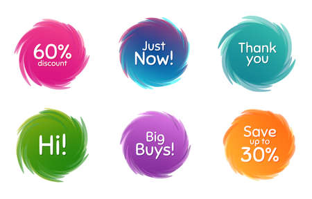 Swirl motion circles. Just now, 60% discount and save 30%. Thank you phrase. Sale shopping text. Twisting bubbles with phrases. Spiral texting boxes. Big buys slogan. Vector