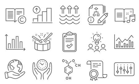 Set of Education icons, such as Copyright, Graph chart. Diploma, ideas, save planet. Checklist, Safe time, Music book. Drums, Chemical formula, Dj controller. Infochart, Evaporation, Algorithm. Vector