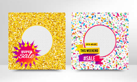 Super sale, This weekend offer. Sale banner with gold glitter, confetti. Discount offer elements. Social media layout banner. Online shopping web template. Promotional flyer design. Vector