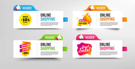 Final sale, 10% discounts and Special offer. Megaphone promotional banner. Discount banner with speech bubble. Shop now badge. Online shopping template with loudspeaker. Vector