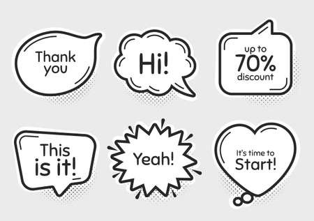 Comic chat bubbles. Time to start, 70% discount. Thank you, hi and yeah phrases. Sale shopping text. Chat messages with phrases. Drawing texting thought speech bubbles. Vector