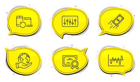 Recovery devices sign. Diploma certificate, save planet chat bubbles. Fast payment, Dj controller and Stock analysis line icons set. Finance transfer, Musical device, Business trade. Vector