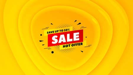 Sale 50% off badge. Geometric plastic design banner. Discount banner shape. Hot offer icon. Orange shape background. Promotional plastic flyer design. Sale 50% promotion banner. Vector Illusztráció