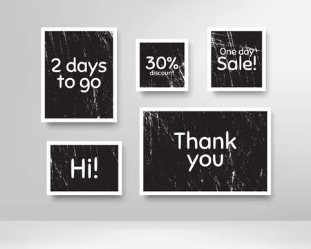 One day sale, 30% discount and 2 days to go. Black photo frames with scratches. Thank you phrase. Sale shopping text. Grunge photo frames. Images on wall, retro memory album. Vector