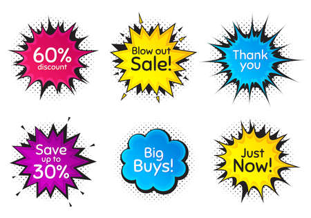 Just now, 60% discount and save 30%. Comic speech bubble. Thank you, hi and yeah phrases. Sale shopping text. Chat messages with phrases. Colorful texting comic speech bubble. Vector