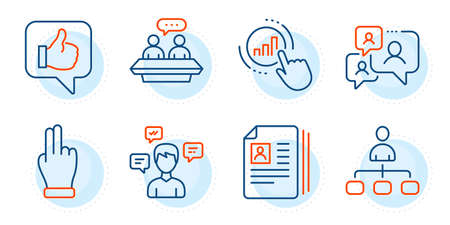 Employees talk, Cv documents and Like signs. Conversation messages, Graph chart and Support chat line icons set. Click hand, Management symbols. Communication, Get report. People set. Vector