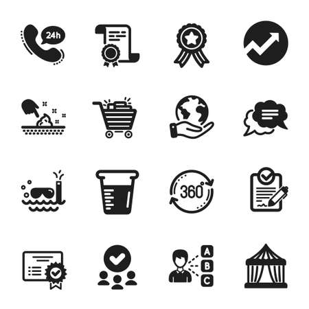 Set of Business icons, such as Rfp, Scuba diving. Certificate, approved group, save planet. 24h service, Text message, Cooking beaker. Shopping cart, Circus tent, Skin moisture. Vector