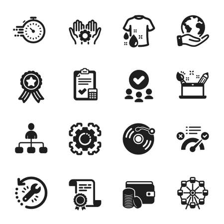 Set of Business icons, such as Employee hand, Vinyl record. Certificate, approved group, save planet. Management, Ferris wheel, Payment method. Vector