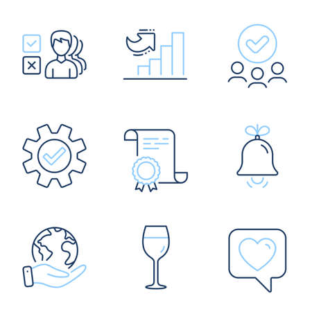 Wine glass, Bell and Growth chart line icons set. Diploma certificate, save planet, group of people. Opinion, Service and Heart signs. Bordeaux glass, Alarm signal, Diagram graph. Vector