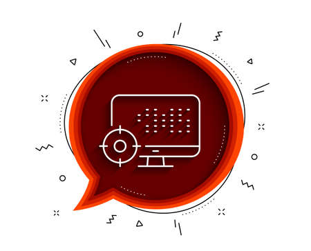 Seo computer line icon. Chat bubble with shadow. Search engine optimization sign. Target symbol. Thin line seo icon. Vector