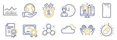 Set of Business icons, such as Cloudy weather, Creative design. Certificate, save planet. Chemistry molecule, Approved, Trade infochart. Smartphone, Smile, Working hours. Vector Illusztráció