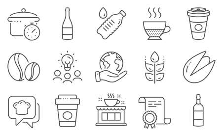 Set of Food and drink icons, such as Pistachio nut, Takeaway coffee. Diploma, ideas, save planet. Coffee beans, Doppio, Water bottle. Brandy bottle, Gluten free, Boiling pan. Vector 矢量图像