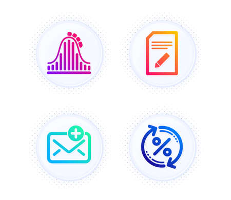 New mail, Edit document and Roller coaster icons simple set. Button with halftone dots. Loan percent sign. Add e-mail, Page with pencil, Attraction park. Change rate. Technology set. Vector