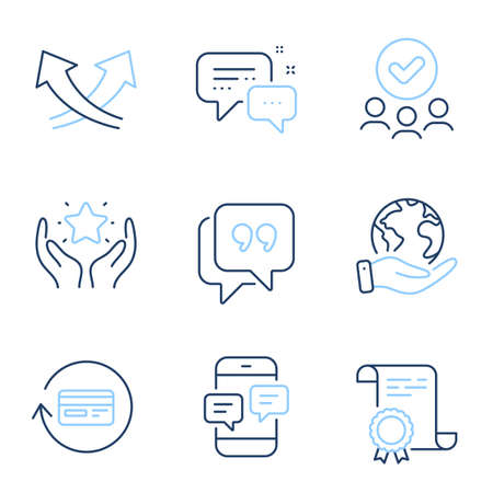 Intersection arrows, Refund commission and Ranking line icons set. Diploma certificate, save planet, group of people. Employees messenger, Phone messages and Quote bubble signs. Vector