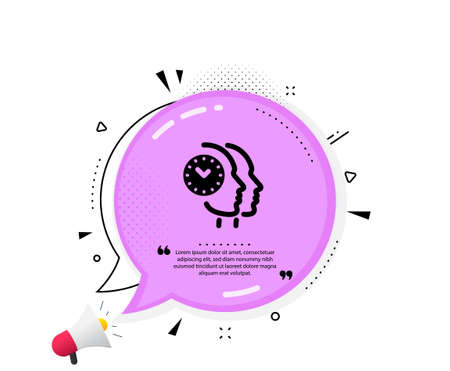 Time management icon. Quote speech bubble. Clock sign. Teamwork symbol. Quotation marks. Classic time management icon. Vector